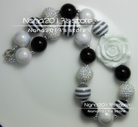 Wholesale mix black white beads kid child bubblegum bead chunky necklace Retail for Girls DIY Christmas jewelry