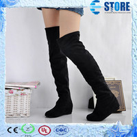 Wholesale Women boots spring autumn ladies fashion flat bottom boots shoes over the knee high leg suede long boots brand designer wu