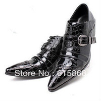 Wholesale Men s leather shoes crocodile pointed toe patent leather high heels dress shoes AS692