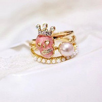 Wholesale Personalized Skull Crown Rings Pearl Finger Rings Piece Set Band Rings Fashion Costume Jewelry Sets RDD0278