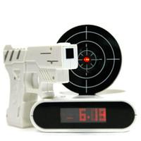 novelty clocks - Fashion Fun Electronic Toy Gun Alarm Clock Novelty LCD Laser Gun Shooting Target Wake UP Alarm Desk Clock Factory Price