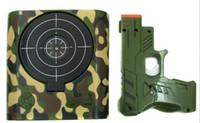 Wholesale Novelty LCD Laser Gun Shooting Target Wake UP Alarm Desk Clock Gun Alarm Clock Black White Camo Colors Via DHL