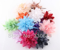 Wholesale 1pcs Big Real Feather Voile Corsage Hair Clips Fabric Flower Brooch Hairpins High Clamp Pins