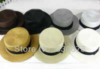 Wholesale Vintage style flat top Sunhat black bowknot ribbon Rattan Plaited women straw hat Summer Beach Hat