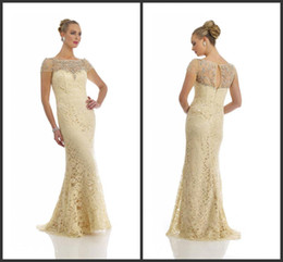 2014 new design sheath fashion mother of the bride dresses crystal bateau short sleeve floor length zipper ivory lace free shipping simple