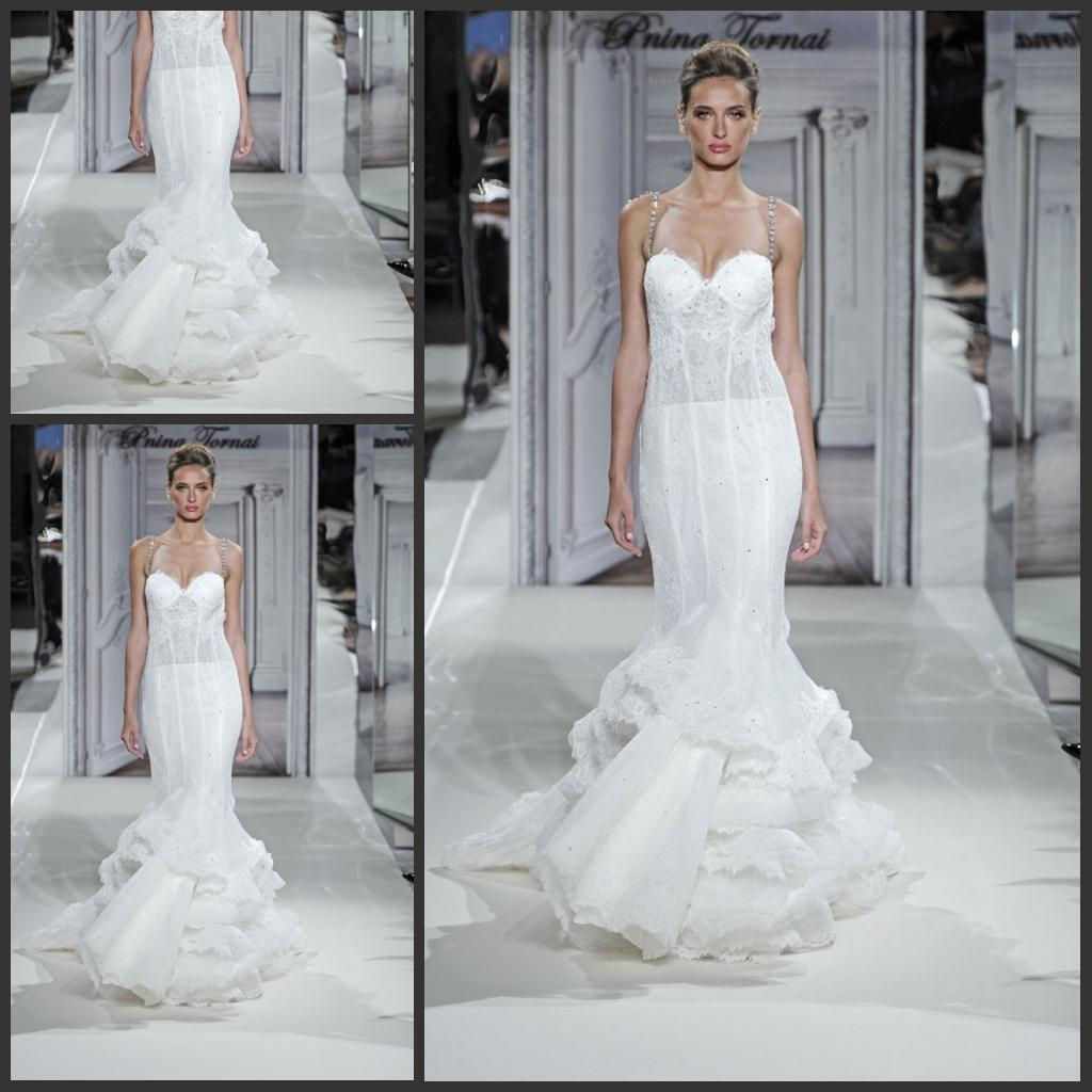 Trumpet Wedding Dresses Kleinfeld : Pnina tornai kleinfeld sleeveless spaghetti wedding dresses sweep