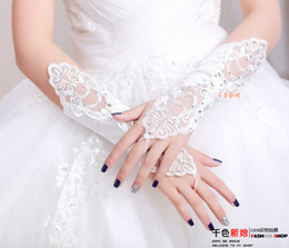Wholesale 2014 Hot Selling Rhinestone Lace Appliques Long Gloves Party Bridal Glove Wedding Gloves
