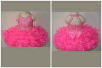 Reference Images Toddler Beads 2014 Cute Princess Mini Flowers Girl Organza Halter Beaded Crystal Ball Gown Back Zip Bowknot Girl's Pageant Dresses