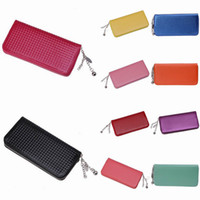 Wholesale Portable Women Leather Wallet Outdoor Soft Make Up Bag Change Purse Colors Choose GGH