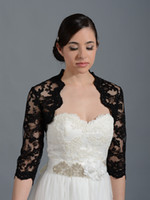 Wedding Jackets/Wraps Sleeveless HQ HQ New Stunning Black Lace Bridal Accessories Scalloped Edge Sexy Wedding Bolero Short Sleeve Bridal Wraps Jacket
