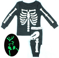 Wholesale 6set baby clothing suit Boys and girls long sleeved T shirt trousers Kids Halloween skeleton suit tracksuit with luminous