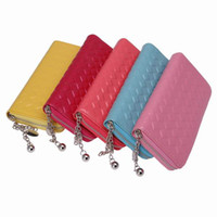 Wholesale Portable Women Leather Wallet Outdoor Soft Make Up Bag Change Purse With Rhombus Grid Pattern Colors Choose GGI