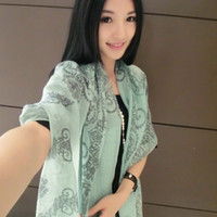 Wholesale Korean porcelain enamel pattern long scarf scarves silk long scarf shawl thin section