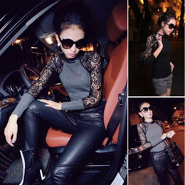 Wholesale Details about Women Knitted Lace Stitching Sleeve Slim Pullover Base Shirt Colors