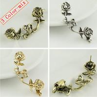 Wholesale Vintage Roses Stud Ear Clip Fashion Women Ear Cuffs Women Earrings Color mix