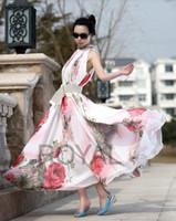 Casual Dresses Halter Tea Length Beach Big Swing Summer Elegant BoHo Lotus Leaf Chiffon Maxi Long Skirt Dresses