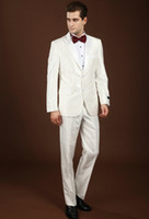 Reference Images Wool Blend Autumn/Spring 2014 Hot Sale Custom Made Groom Tuxedos White Gun Collar Wedding Groomsman Men Suits Bridegroom EM00270