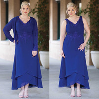 Wholesale Plus Size With Jacket Sexy Pant Suits Chiffon Long Sleeve Evening Dress Gowns Short Mother of The Bride Groom Cheap Dresses Royal Blue