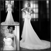 Trumpet/Mermaid Reference Images High Collar LK Stunning Lace Embroidery High Neck Wedding Dresses Vintage Mermaid Peplum Hollow Illusion Back Court Train 2014 HOT Sale Bridal Gowns