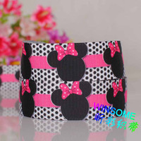 Wholesale 10yards quot mm Black dots printed cartoon mouse ribbon DIY polyester Grosgrain ribbon
