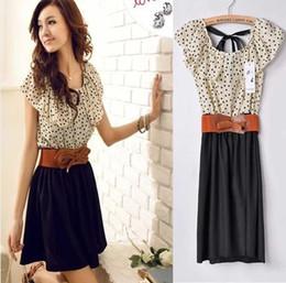 Korean Women Summer Chiffon Mini Dress Short-sleeve Dots Polka Waist Beige+Black Ready Stock Free Drop Shipping Bowknot Belt as Gift Hot