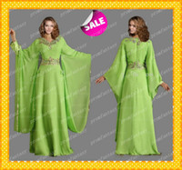 Reference Images V-Neck Chiffon 2014 Dubai Abaya Muslim Kaftan Lime Green Chiffon Wedding Evening Dresses Modest V-Neck Long Sleeves Shiny Crystals A-Line Long Formal Gowns