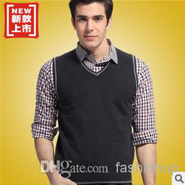 Wholesale 2014 Woollen Men Vest Sweater Knitted Shawl Australian Wool Tank Top Classic AMY11