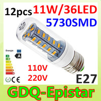 Wholesale x SMD LED W E27 E14 V V V V V Corn Bulb Light Lamp LED Lighting White Warm White Glass Cover