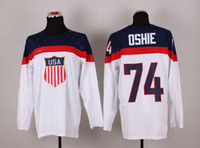Ice Hockey Men Full 2014 Sochi Olympic Team USA #74 T.J. Oshie White Hockey Jerseys Top Selling High Quality Stitched USA Olympic Jerseys Cheap Hockey Wears