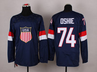 Ice Hockey Men Full 2014 Team USA #74 T.J. Oshie Navy Blue Sochi Olympic Hockey Jerseys New Arrival Brand Stitched Hockey Wears Hot Sales Sports Jerseys Cheap