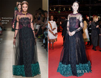 Reference Images Crew Lace LK Valentino Spring 2014 Long Sleeves Black Lace Evening Prom Dresses Exquisite Sheer Jewel Neck Berlin Film Festival Celebrity Dresses New