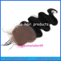 Cheap Brazilian Hair silk base closure Best Black Body Wave silk Top closure