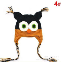 Boy Spring / Autumn Crochet Hats New Owl EarFlap Crochet Hat Kids Wool Weaving Hat,Hand-woven Baby Hat,Knitting Wool Children Hat,Animal prints Hat 10pcs lot free shipping