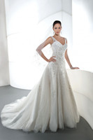 Wholesale 2014 Hot Selling Charming Pure White Sleeveless A line Wedding Dresses Applique Beading Crystal Sheer Straps Court Train Bridal Gown