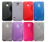 For Samsung TPU Red S Line Clear Transparent TPU Gel Silicone Rubber Skin Shell Protector Back Cover Case for Samsung Galaxy S5 S 5 i9600 Cell Phone Cases Cheap