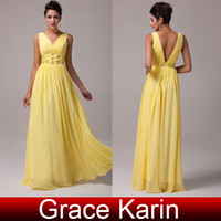 Model Pictures yellow ball gown prom dresses - Grace Karin Beautiful Yellow Chiffon Prom Dresses Ball Gown Evening Deep V neck Ruched Beading Bodice Design Under CL6014