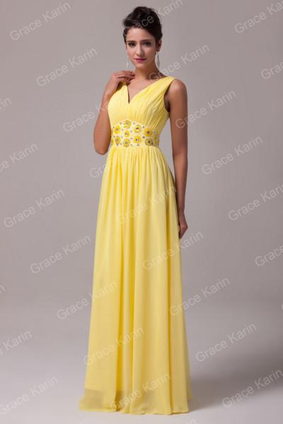 Grace Karin belle de mousseline de soie jaune robes de demoiselle dhonneur Une ligne