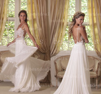 backless white lace chiffon wedding dresses 2014 spagehtti s...