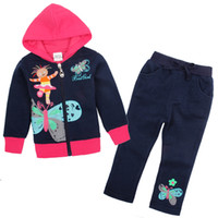 Girl Spring / Autumn Long FG4655# Nova 2014 Kids clothing sets for winter 18m-6y baby girls 2 piece set in the night garden butterfly fleece hooded hoodies + pants