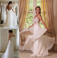Model Pictures boho dress - 2015 Boho Lace Appliqued Beach Wedding Dresses Spaghetti Straps Backless A Line Chapel Train White Chiffon Bridal Gowns SSJ