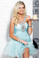 Wholesale Best Selling OFF Light Blue Lavender Crystal Beaded Waist band Sexy Cocktail Dresses Ae01123