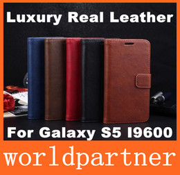 Wholesale New Arrival Crazy Horse Wallet Folio Stand Leather Case Cover Skin Holster for Samsung Galaxy S5 I9600 Credit Card Slot Money Pocket