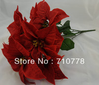 artificial flowers poinsettia - 7stems New arrival Artificial fabric silk flowers plastic flower christmas flower poinsettia christmas home festival decoration