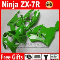 Wholesale Free customize fairing kit for Kawasaki Ninja ZX R ZX R ZX7R all green bodywork fairings set Yr36 gifts