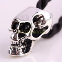 Wholesale 100X Evil Skull Heads Skeleton Zinc Alloy Big Hole Charm Beads Fit European Chain Bracelet