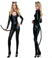 Wholesale Faux Leather sexy lingerie leather catsuit Catwoman Costume Leather sexy cat lingerie