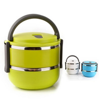 Dinnerware Sets Bowl  Free shipping Homio Double Layer Stainless Steel Children Lunch Box 1.4L Keep Warm Food Container For Kids #S0185