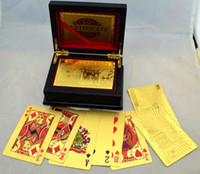 Wholesale Wholesales Euro Playing Cards Pound Gold Foil Plated Poker With Wooden Box By DHL
