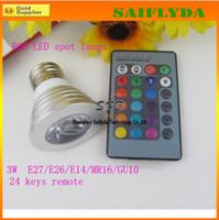 Wholesale 3W E27 GU10 MR16 RGB E14 LED Bulb Lamp light Color changing IR Remote control