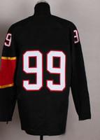 Ice Hockey Men Full Top Quality New Style 2014 Olympic Team #99 Gretzky Black Jerseys Embroidery Logos Ice Hockey Jersey